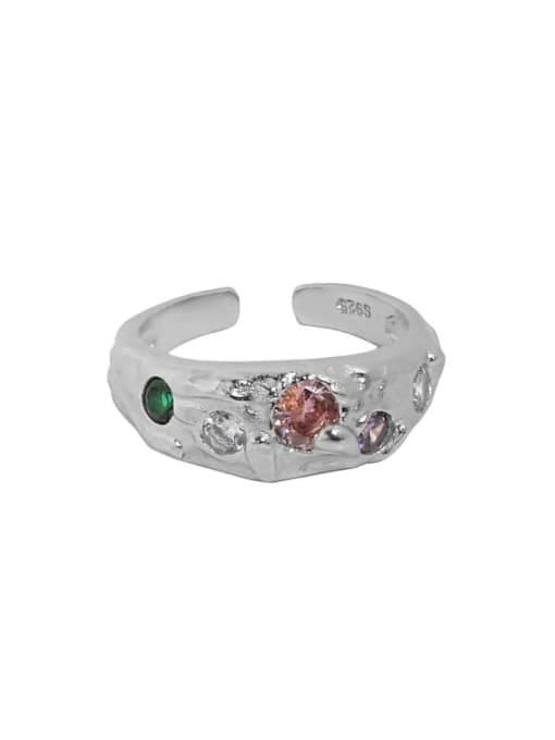 White gold [pink stone] 925 Sterling Silver Glass Stone Irregular Vintage Band Ring